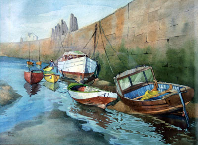 Picture of Fisherman and Boats by David Byrne