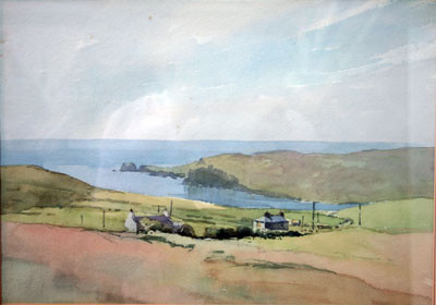 Picture of Coastal Inlet and Cottage by David Byrne