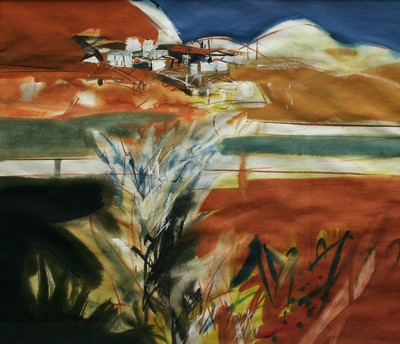 Picture of Red Landscape with Walled Fields by Roger Cameron