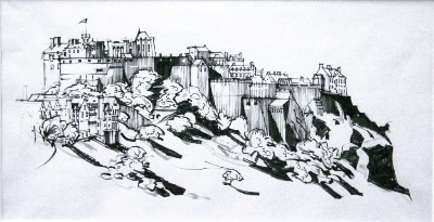 Picture of Edinburgh Castle Sketch by Marjorie I Campbell