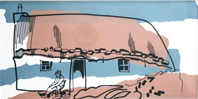 Picture of Croft Cottage & Seated Man by Marjorie I Campbell