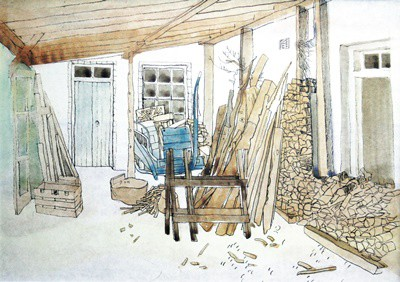 Picture of Strathdon Porch & Woodstack by Marjorie I Campbell