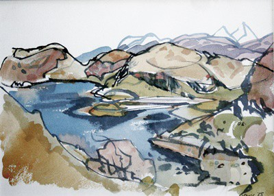 Picture of Blue Loch & Mountains by Marjorie I Campbell