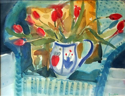 Picture of Tulips On A Blue Chair by Glen Scouller
