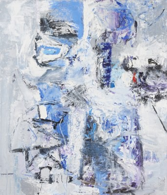 Picture of Grey, Violet and White No 2 by Clare Wardman