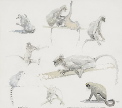 Picture of Monkeys at the Zoo by John Busby
