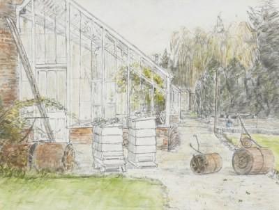 Picture of Head Gardeners Beehives by Olwyn Bowey