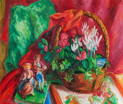 Picture of Cyclamens and Figurines by Lucinda Mackay