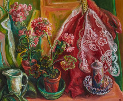 Picture of Pink Geraniums by Lucinda Mackay