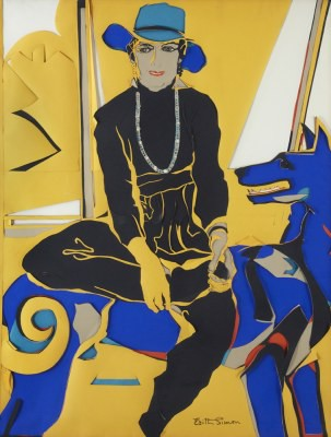 Picture of Janet Seated on Blue Ghost Dog by Edith Simon