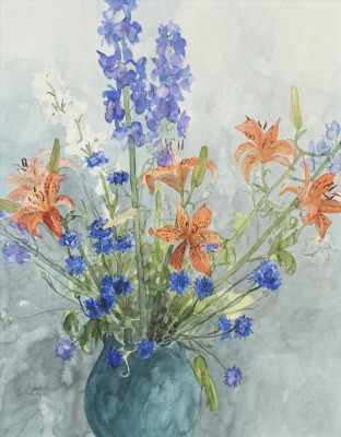 Picture of Delphiniums and Lilies by Jenny Matthews