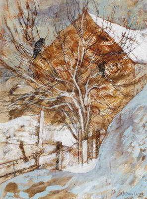 Picture of Lilac Trees,  Rooks & Snowdrifts by Victoria Crowe