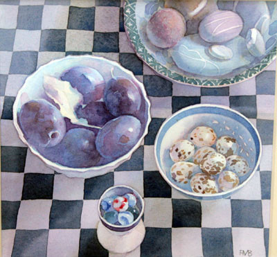 Picture of Plums and Quail's Eggs by Freda Blackwood