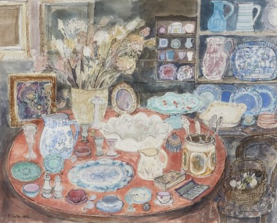 Picture of Interior with Antiques by Carola Gordon
