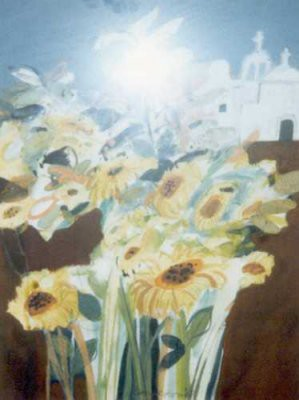 Picture of Sunflowers & Church by Roger Cameron