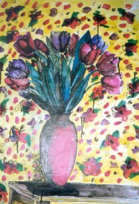 Picture of Tulips in a Vase by Lesley Thomson
