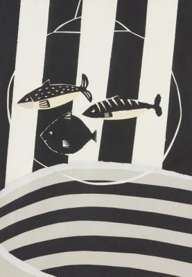 Picture of Three Fish and Stripes I by Pauline Burbidge