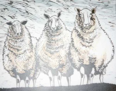 Picture of Three Sheep by Linda Mallett