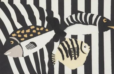 Picture of Three Fish and Stripes II by Pauline Burbidge