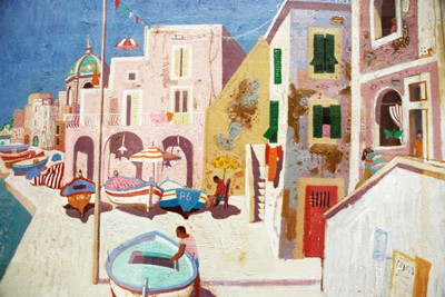 Picture of Boats at Procida by Leon Morrocco