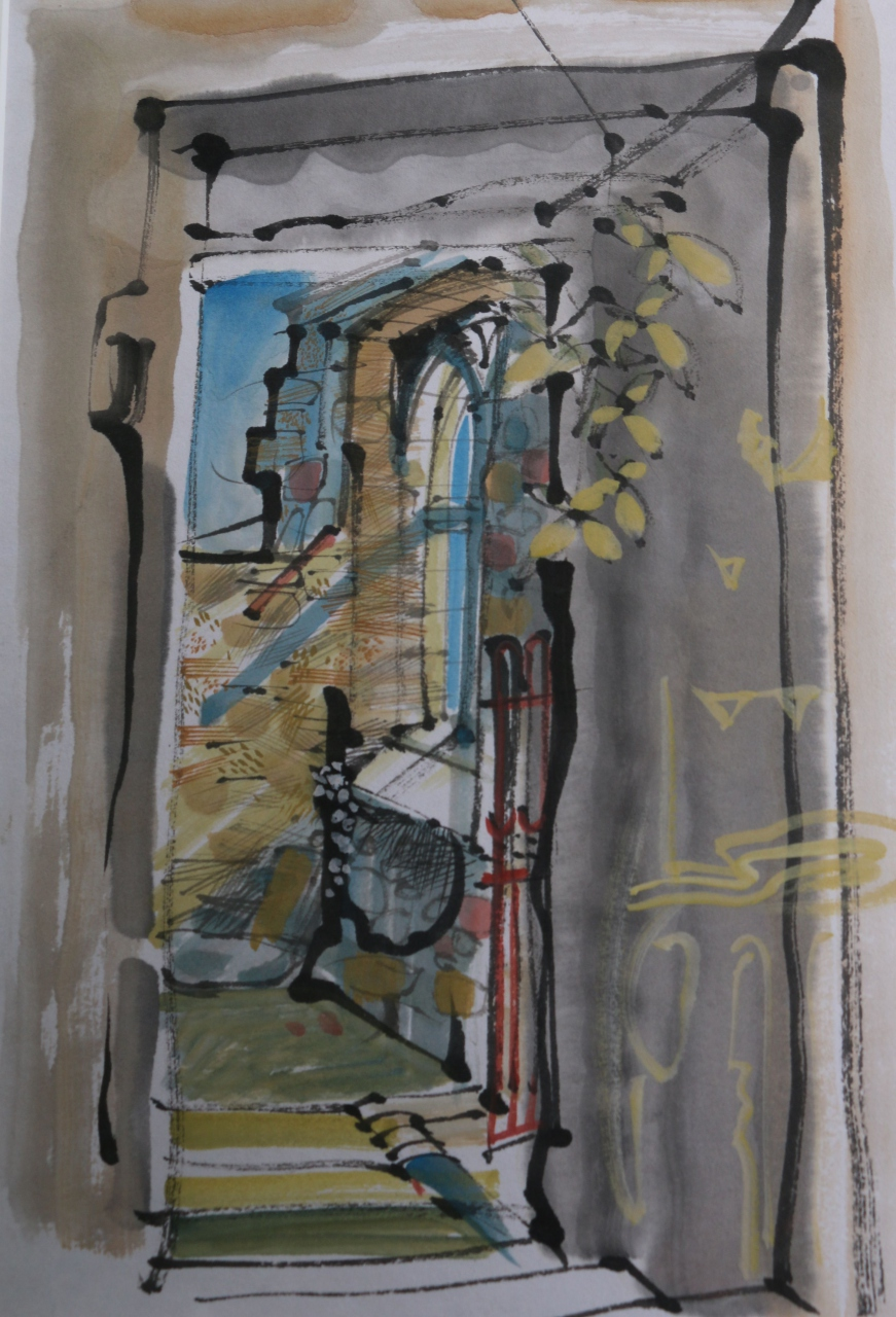Picture of Blairlogie Chapel, Window and Leaves by Marjorie I Campbell